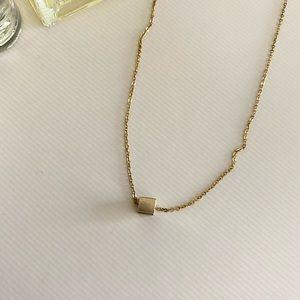 Zara gold cube necklace